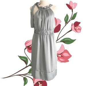 COOPER ST Silver Satin Dress with Bow Tie Shoulder